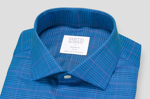 Smyth & Gibson Prince of Wales Houndstooth Check Tailored Fit Shirt in Blue & Pink - Smyth & Gibson Shirts