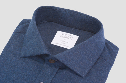 Smyth & Gibson Brushed Cotton Twill Tailored Fit Shirt In Midnight Blue