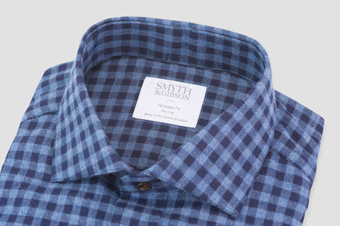 Smyth & Gibson Brushed Cotton Herringbone Gingham Shirt in Blue & Navy - Smyth & Gibson Shirts