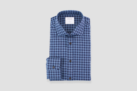 Smyth & Gibson Brushed Cotton Herringbone Gingham Shirt in Blue & Navy