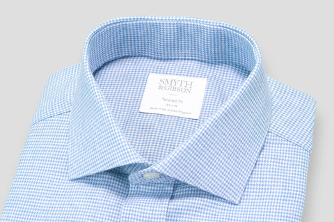 Smyth & Gibson Houndstooth Brushed Cotton Tailored Fit Shirt in Sky Blue