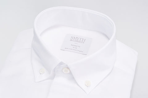 Smyth & Gibson Oxford Linen Button Down Tailored Fit Shirt in White - Smyth & Gibson Shirts