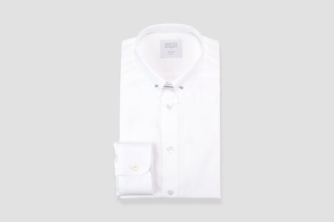 Smyth and Gibson Journey Poplin Collar Bar Tailored Fit Shirt in White