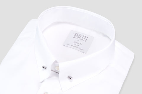 Smyth & Gibson Plain Poplin Collar Bar Tailored Fit Shirt In White - Smyth & Gibson Shirts