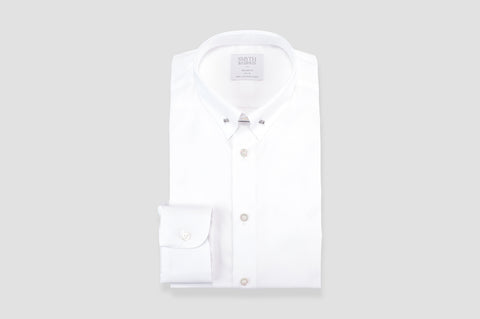 Smyth & Gibson Plain Poplin Collar Bar Tailored Fit Shirt In White