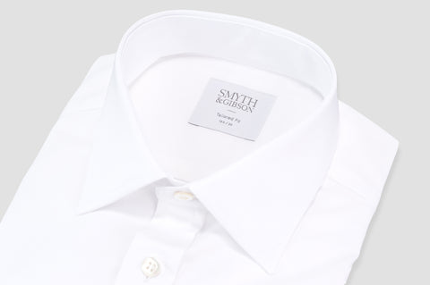 Smyth & Gibson Royale Twill Cotton Double Cuff Tailored Fit Shirt in White - Smyth & Gibson Shirts