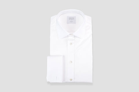 Smyth & Gibson Royal Twill Double Cuff Tailored Fit Shirt in White