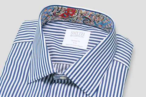 Smyth & Gibson Bengal Stripe Shirt in Navy with Liberty Contrast - Smyth & Gibson Shirts