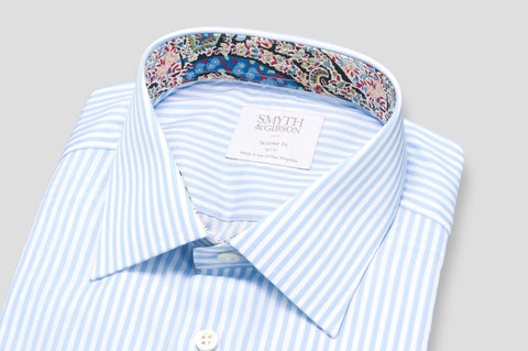 Smyth & Gibson Bengal Stripe Shirt in Sky Blue with Liberty Contrast - Smyth & Gibson Shirts