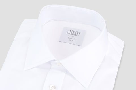 Smyth and Gibson Plain Cotton Twill Classic Collar Tailored Fit Shirt in White - Smyth & Gibson Shirts