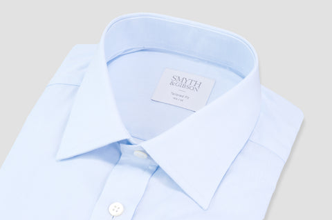 Smyth & Gibson Plain Twill Classic Collar Tailored Fit Shirt In Sky Blue - Smyth & Gibson Shirts