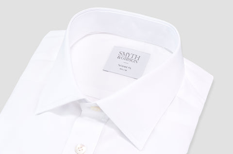 Smyth and Gibson Plain Poplin Classic Collar Tailored Fit Shirt in White - Smyth & Gibson Shirts