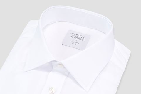 Smyth and Gibson Royale Twill Classic Collar Tailored Fit Shirt in White - Smyth & Gibson Shirts