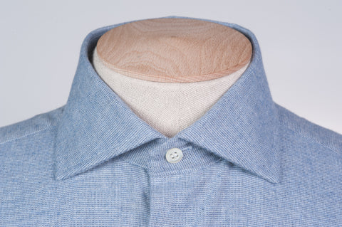 Smyth And Gibson Textured Brushed Cotton Tailored Fit Shirt in Sky Blue