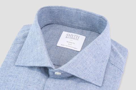 Smyth And Gibson Textured Brushed Cotton Tailored Fit Shirt in Sky Blue - Smyth & Gibson Shirts