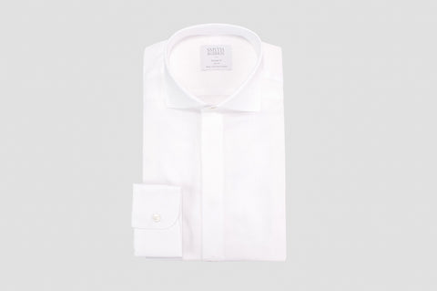 Smyth & Gibson Floral Jacquard Tailored Fit Shirt in White