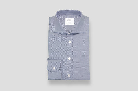Smyth & Gibson Zig Zag Textured Shirt In Navy