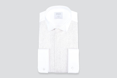 Smyth & Gibson Marcella Lurex Origami Collar Tailored Fit Shirt in White