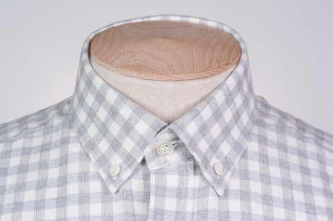 Smyth And Gibson Brushed Cotton Melange Check Tailored Fit Shirt in Light Grey