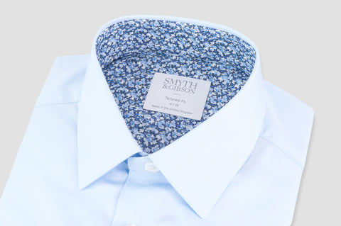 Smyth & Gibson Liberty Print Floral Contrast Tailored Fit Shirt in Sky Blue