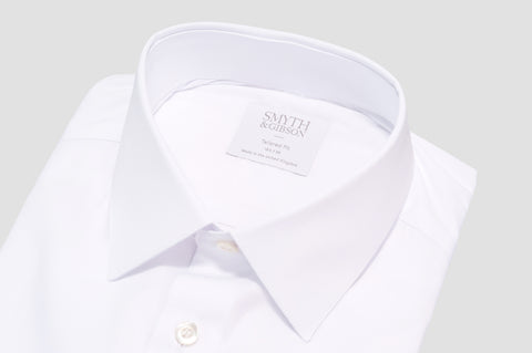 Smyth & Gibson Stretch Poplin Tailored Fit Shirt in White - Smyth & Gibson Shirts