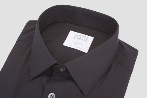 Smyth & Gibson Stretch Poplin Tailored Fit Shirt in Black - Smyth & Gibson Shirts