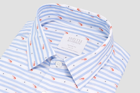Smyth & Gibson Oxford Linen Jacquard Shrimp Tailored Fit Shirt in Blue - Smyth & Gibson Shirts