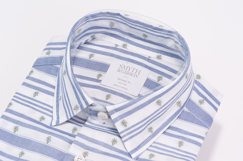 "Smyth & Gibson Barre Stripe ""Palm Beach"" Tailored Fit Shirt in Sky Blue - Smyth & Gibson Shirts"