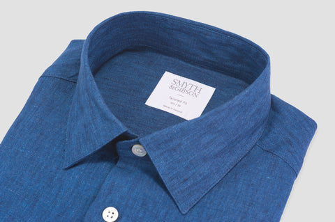 Smyth and Gibson Luxury 100% Linen Tailored Fit Shirt in Indigo - Smyth & Gibson Shirts