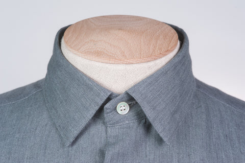 Smyth & Gibson Luxury 100% Irish Linen Tailored Fit Shirt in Grey