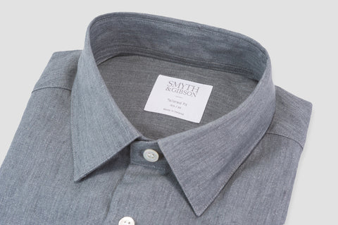 Smyth & Gibson Luxury 100% Irish Linen Tailored Fit Shirt in Grey - Smyth & Gibson Shirts