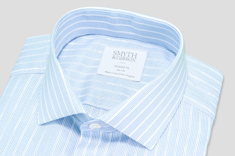 Smyth & Gibson Woven Jacquard Stripe Shirt in Blue - Smyth & Gibson Shirts
