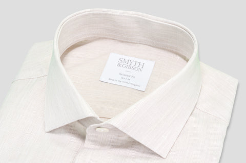 Smyth & Gibson Fine Stripe Cotton & Linen Mix Shirt in Tan - Smyth & Gibson Shirts