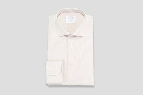 Smyth & Gibson Fine Stripe Cotton & Linen Mix Shirt in Tan