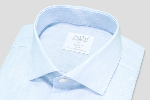 Smyth & Gibson Fine Stripe Cotton & Linen Mix Shirt in Blue - Smyth & Gibson Shirts