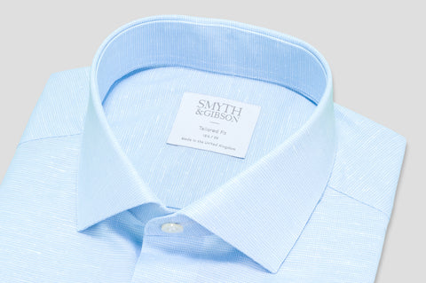 Smyth & Gibson Fine Check Dobby Cotton & Linen Mix Shirt in Sky Blue - Smyth & Gibson Shirts