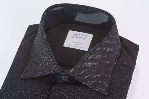 Smyth & Gibson Marcella Metallic Spot Tailored Fit Dinner Shirt in Black