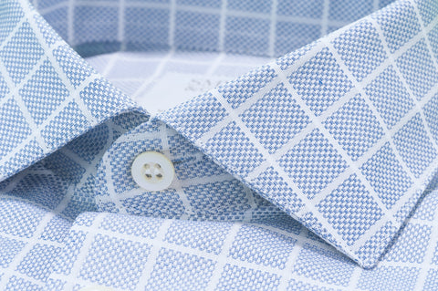 Smyth & Gibson Jacquard Grid Check Tailored-Short Fit Shirt in Light Blue