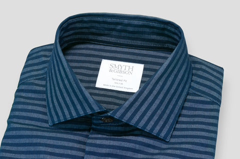 Smyth & Gibson Barre Stripe Denim Tailored-Short Fit Shirt in Navy