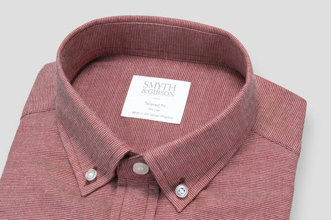Smyth & Gibson Textured Brushed Cotton Tailored-Short Fit Shirt in Burgundy