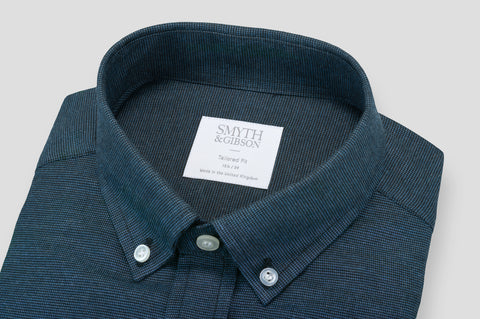 Smyth & Gibson Textured Brushed Cotton Tailored-Short Fit Shirt in Navy