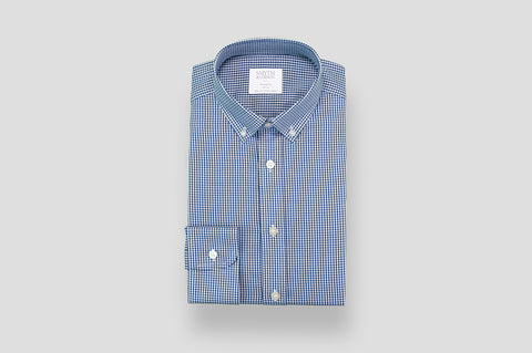 Smyth & Gibson Blast Twill Gingham Tailored-Short Fit Shirt in Navy