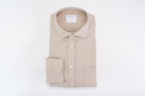 Smyth & Gibson 100% Luxury Irish Linen Tailored Short Fit in Stone