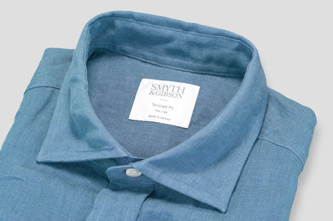 Smyth & Gibson 100% Irish Linen Shirt in Picasso Blue - Smyth & Gibson Shirts