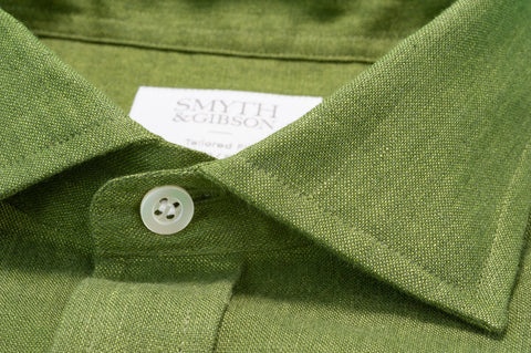 Smyth & Gibson 100% Luxury Irish Linen Shirt in Moss Green