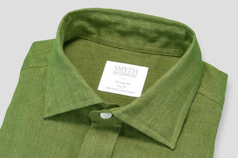 Smyth & Gibson 100% Luxury Irish Linen Shirt in Moss Green - Smyth & Gibson Shirts