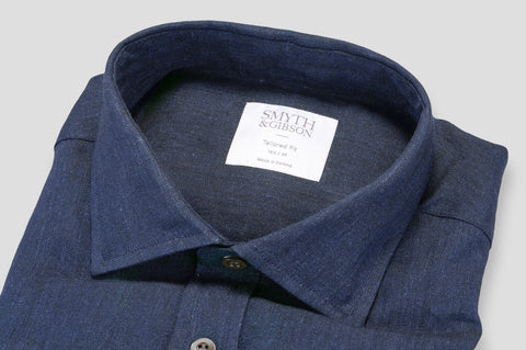 Smyth & Gibson 100% Luxury Irish Linen Shirt in Navy - Smyth & Gibson Shirts