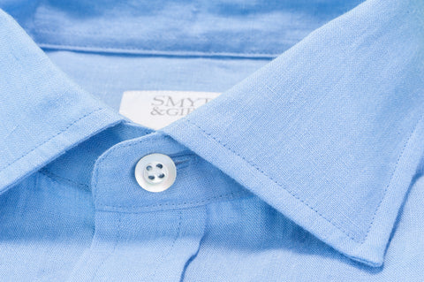 Smyth & Gibson 100% Luxury Irish Linen Shirt in Ultra Blue