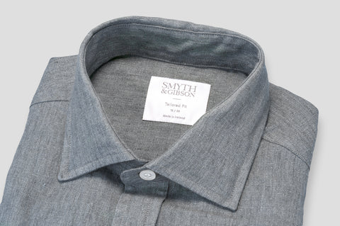 Smyth & Gibson 100% Luxury Irish Linen Shirt in Grey
