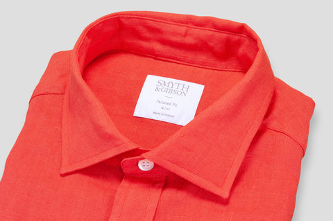Smyth & Gibson 100% Irish Linen Shirt in Tomato Red - Smyth & Gibson Shirts